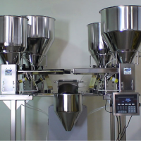 4-Bowl Feeder Hopper can mix ingredients before packaging.